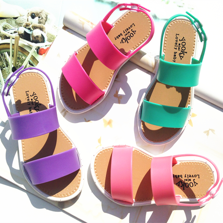 High quality fashion summer boys and girls <strong>sandals</strong> shoes for children One piece open toe PVC shoes fashion flat flower <strong>sandals</strong>