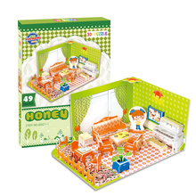Schlafzimmer <span class=keywords><strong>Küche</strong></span> Bad Kinder Puzzles Papier <span class=keywords><strong>DIY</strong></span> Intelligenz Spielzeug <span class=keywords><strong>Glücklich</strong></span> Wohnzimmer Puzzle 3D für Kinder Party Favors EXW