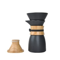 New design Matte Black Porcelian/Ceramic Pour Over Coffee Maker dripper set with with wooden lid
