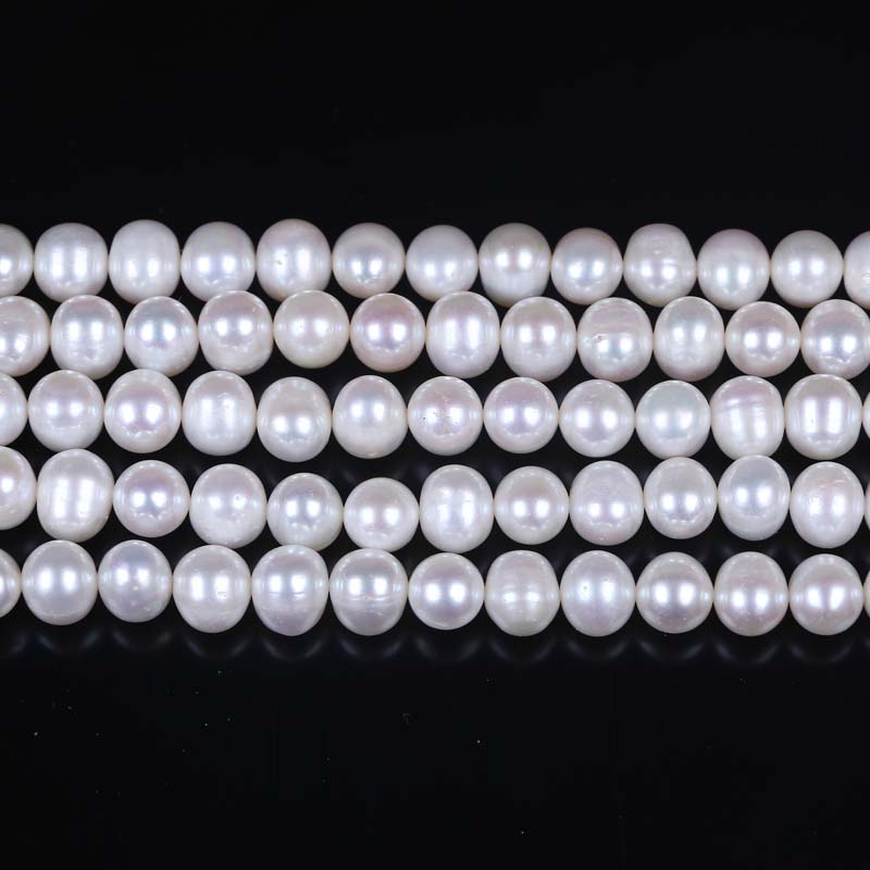 8-9mm A Grade white egg shape loose pearl strand