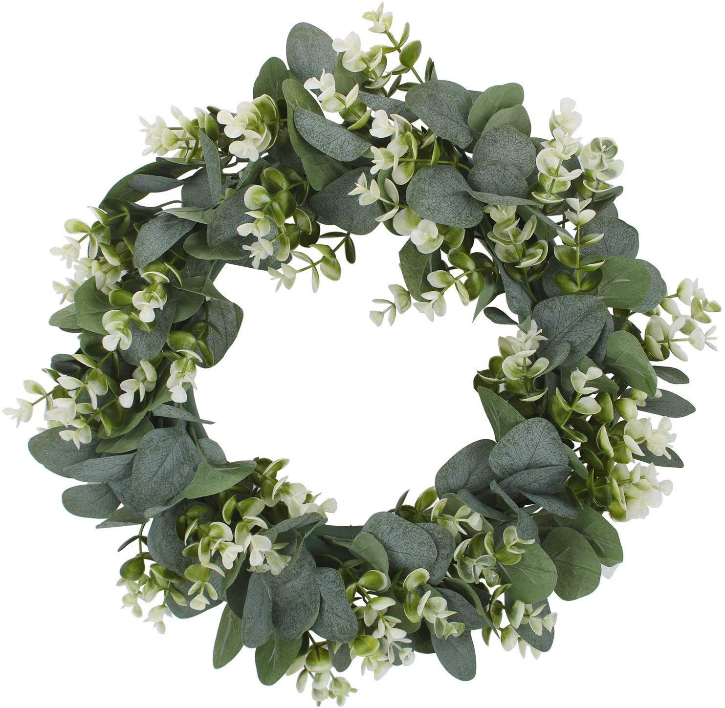 High Quality White Wedding Round Plastic Artificial Wreath Eucalyptus leaf knockerGreen spring door wreath <strong>flowers</strong>