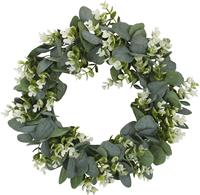 High Quality White Wedding Round Plastic Artificial Wreath Eucalyptus leaf knockerGreen spring door wreath flowers