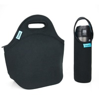 Custom Logo Blank Black Eco Reusable Insulated Tote Neoprene Lunch Box Bag with Water Bottle Holder