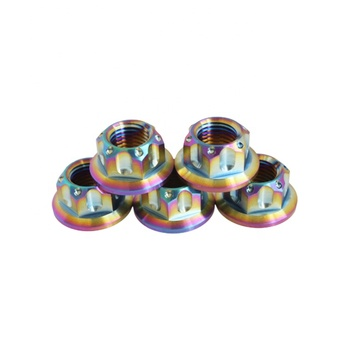 High strength custom M5 M6 M8 M10 hexagon flange GR5 Ti-6al-4v color nuts for motorcycle