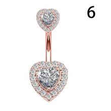 1 шт. сексуальное кольцо для живота, Модный женский циркон в форме сердца, пупок, пирсинг, сталь, Ombligo, пуповина, ювелирные изделия, аксессуары(Китай)