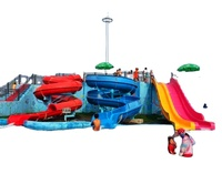 Water amusement park equipment fiberglass swirling slides group suitable for kids and adults