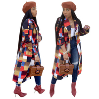 9091032 hotsale double rows button tailored collar straight loose plaid winter autumn women's coat