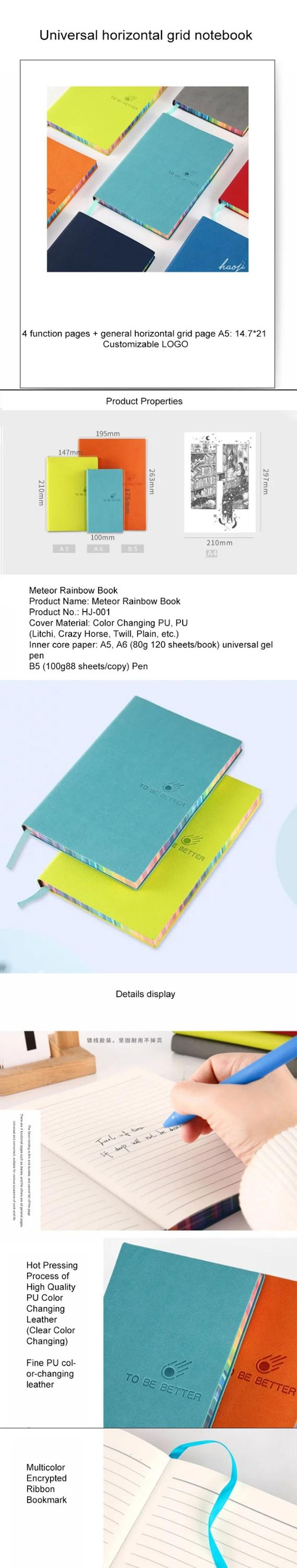 Custom Printing Fashion Colorful Edge Hardcover Stationery Diaries For Girls A5 Leather Bound Journal Notebook Printing