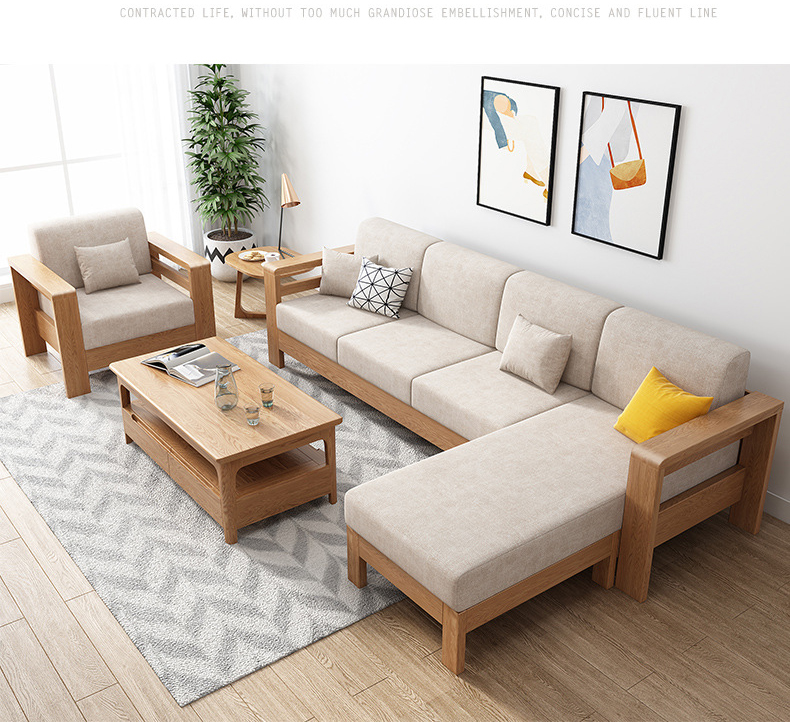 product-living room furniture solid wood l shaped wooden sofa set modern exposed wood frame fabric s