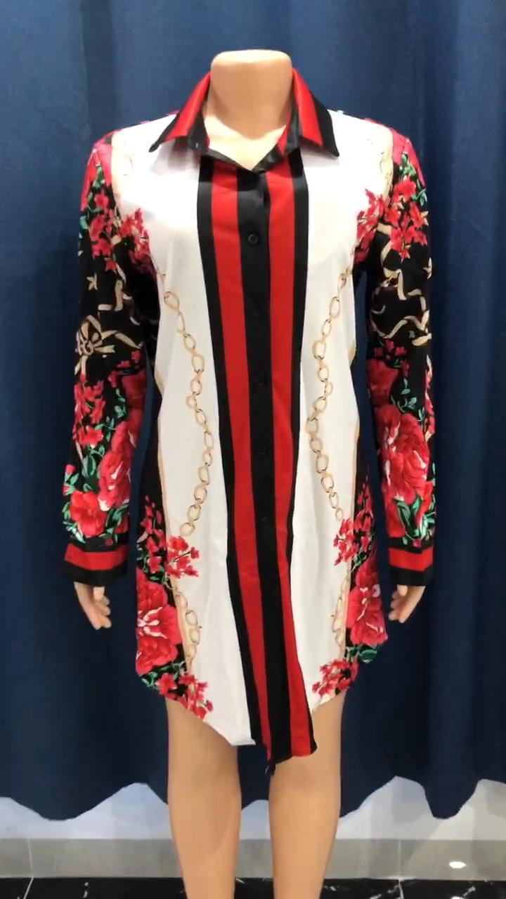 LF-36 Wanita Pakaian Fashion Wanita Blus Tops Plus Ukuran Dicetak Lengan Panjang Kemeja Wanita Blus 2020