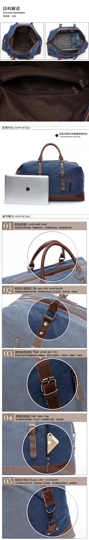 RETON 40% de durée limitée vintage toile garniture en cuir PU fourre-tout sac à bandoulière hommes week-end voyage sacs polochons