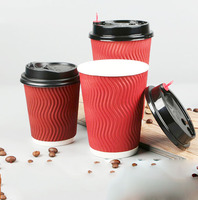Take Away Disposable Custom Printed 8oz 10oz 12oz 16oz 20oz Red Brown Kraft Coffee Ripple Double Wall Paper Cup