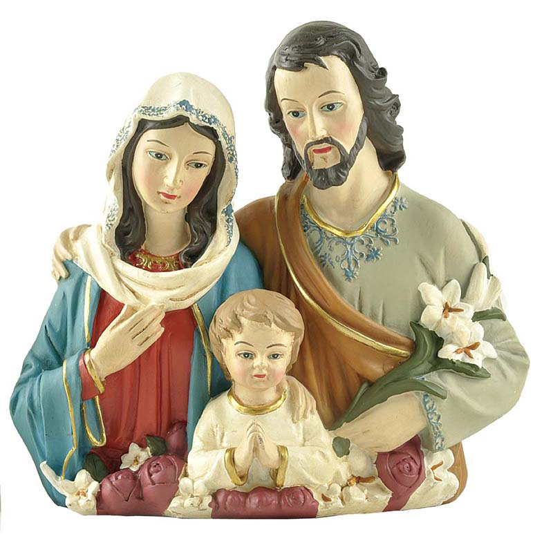 Stock Products Polyresin Praying Holy Family Bust w/Flowers Decoration