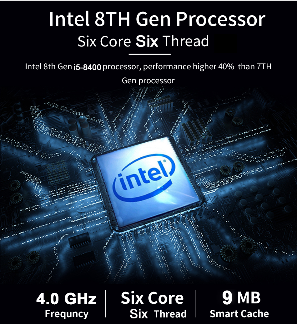 8 Gen i5 8400 Gaming Computer 4.0GHz 6 Core 6 Thread Mini PC Desktop Dedicated Graphics GeForce GTX 1050Ti 4G GDDR5 Barebone 4K