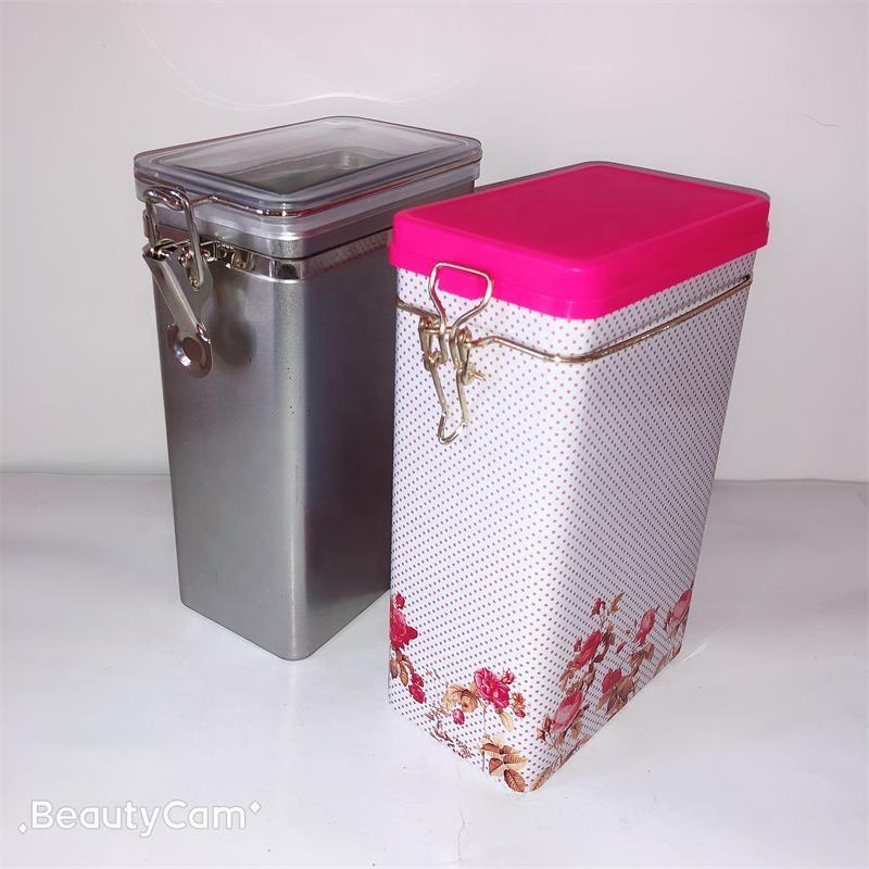 Plastic sealed lid food grade rectangle coffee tea tin box