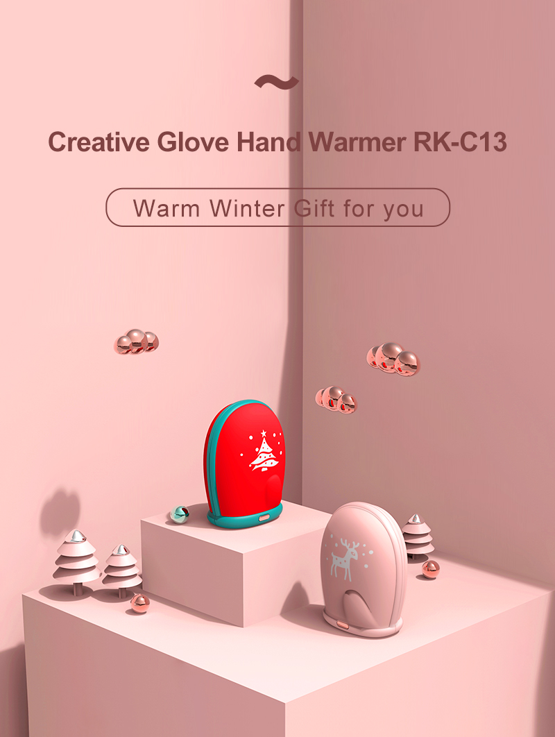 2020 Christmas gift 8000mah power bank USB rechargeable detachable gloves design hand warmer