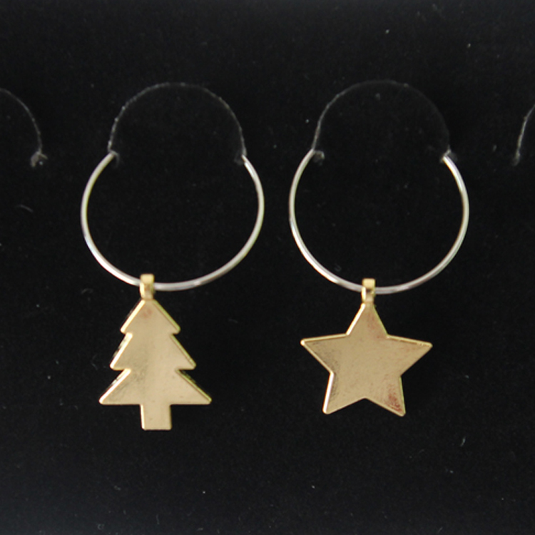 Metal Gold Star Shape Pretty Design Wine Glass Charms for Christmas Home Decoration