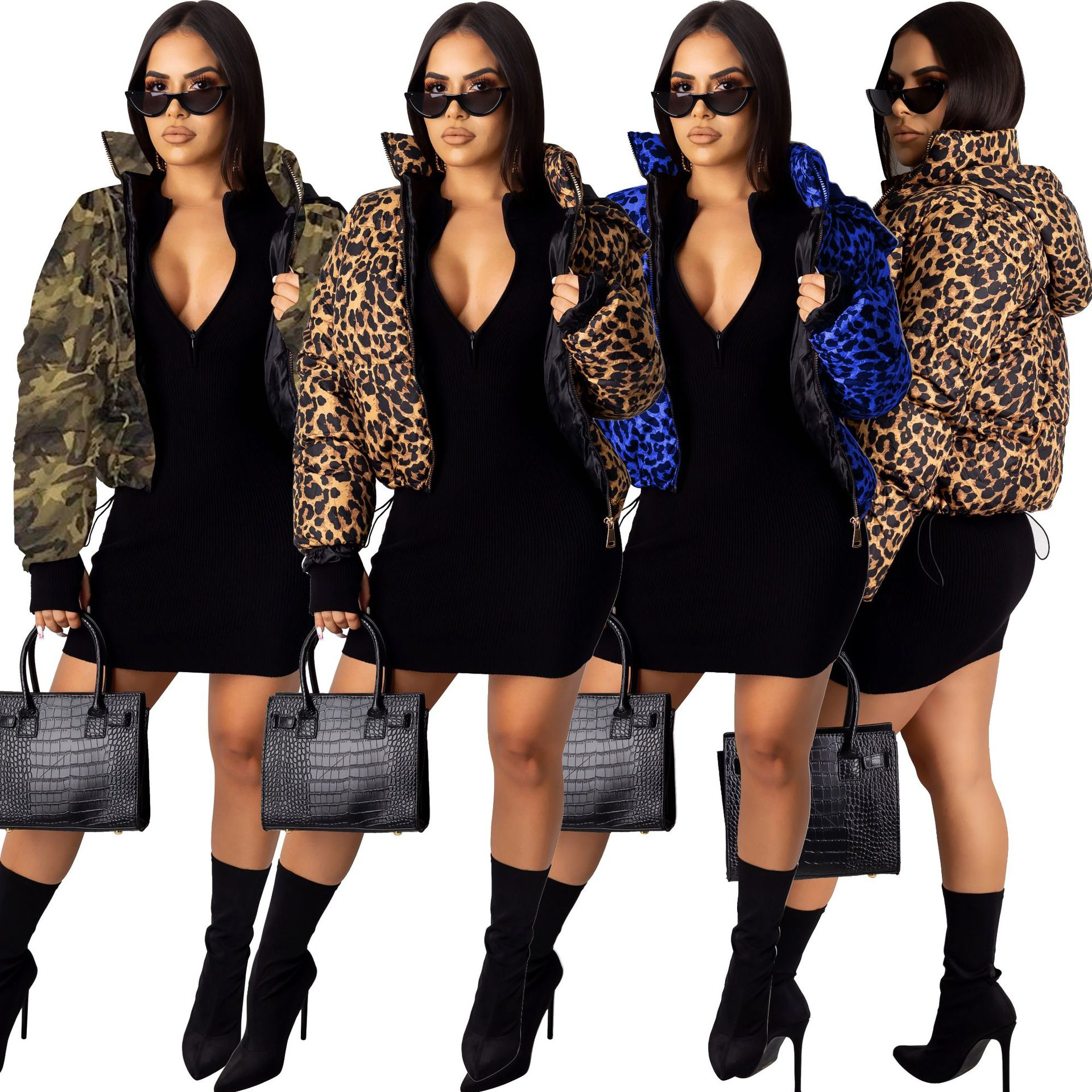 Dropshipping prom <strong>fashion</strong> <strong>winter</strong> wear hooded leopard print down <strong>coat</strong> woman bubble <strong>coats</strong>