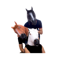 Molezu Fashion Halloween Animal Full Head Masks Latex Brown Unicorn Horse mask for Funny Comedy Private Cosplay Party