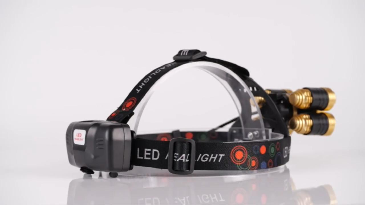 استخدام في الهواء الطلق الترا مشرق مريحة للتدوير 5 المصابيح usb قابلة للشحن الدراجة رئيس مصباح شعلة led