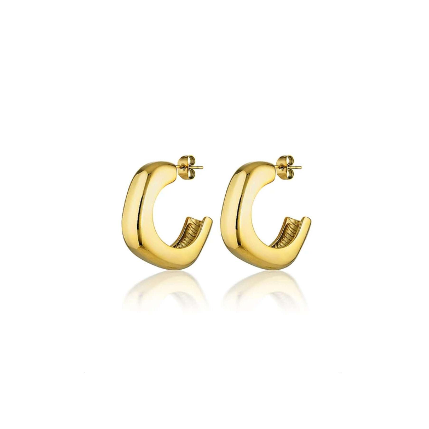 18K PVD Gold Plated Stainless Steel Hoop Earring Thick Hoop Earrings