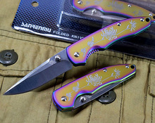 "Chrysant Patroon 6.3 ""EDC Messen Multi-kleur Titanium Pocket Zakmes 440C Staal 58Hrc Outdoor mes <span class=keywords><strong>Jachtmes</strong></span>"