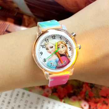 Elsa Children Watches Electronic Colorful Light Source Child Watch Girls Birthday Party Kids Gift Clock Children Wrist watch