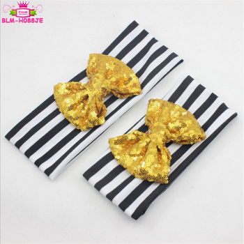 Black And White Stripes Hairband Mommy And Me Gold Sequin Bow Headbands