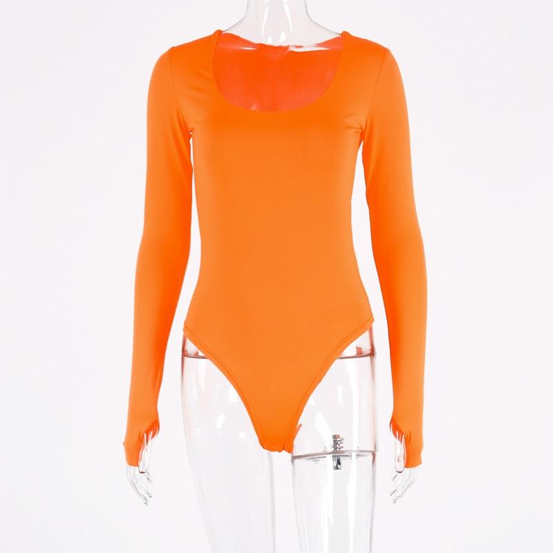Женский неоновый облегающий сексуальный костюм Hugcitar, с длинным рукавом, оранжевого цвета, Осень-зима 2020(Китай)