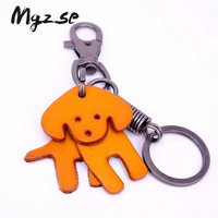 Custom cute animal leather key holder key chain for kids promotion