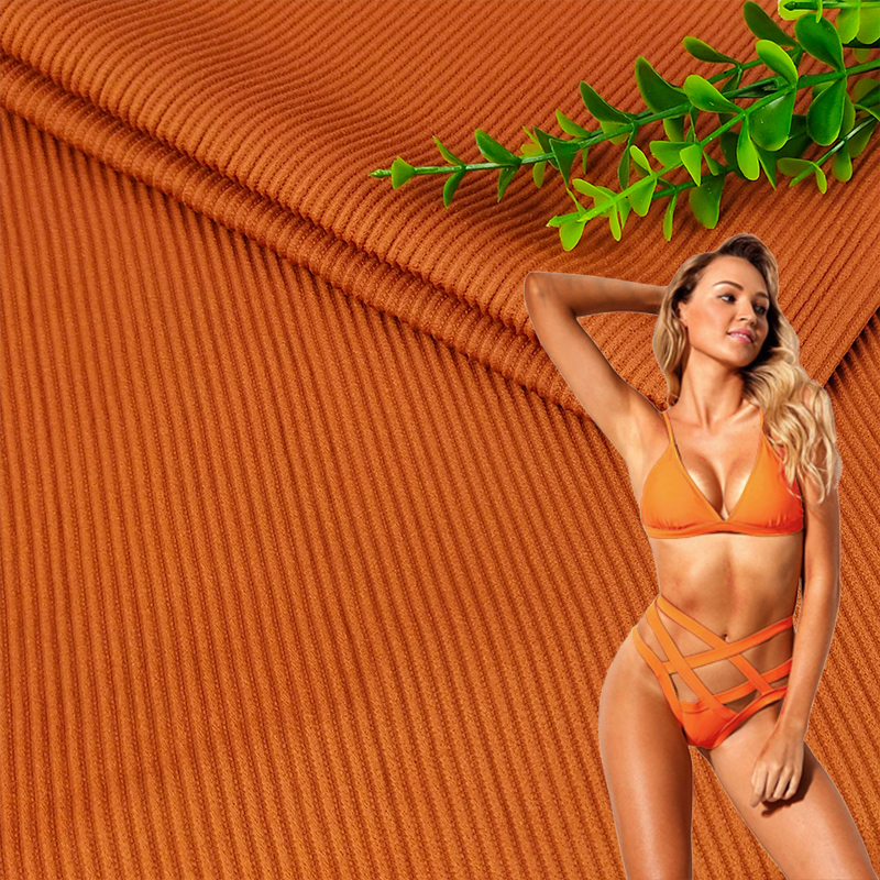 Hot selling 85%nylon 15%spandex ribbed swimwear bikini fabric stock a lot