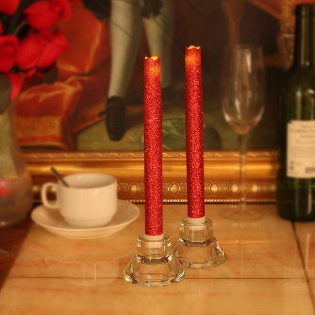 10 इंच Flameless असली मोम एलईडी शंकु मोमबत्ती/गर्म सफेद प्रकाश बैटरी संचालित डिनर रिमोट समारोह के साथ मोमबत्ती का नेतृत्व किया