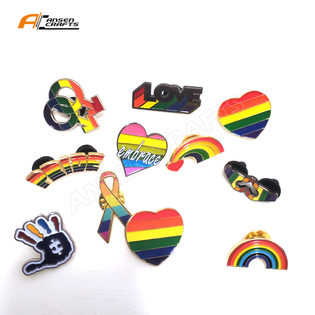 LOGE embossed Rainbow soft enamel custom shirt LGBT Pins Gay Lesbian Bisexual costumes lapel pin badge