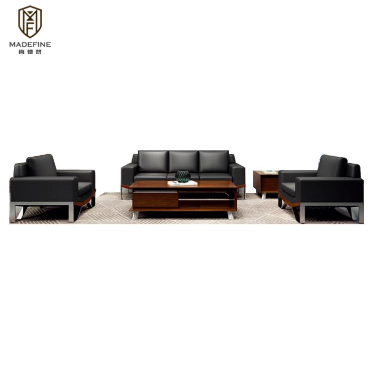 MADEFINE Foshan Meubles SF-163 moderne ensemble de canapé en cuir noir canapé de réception de bureau avec bureau canapés