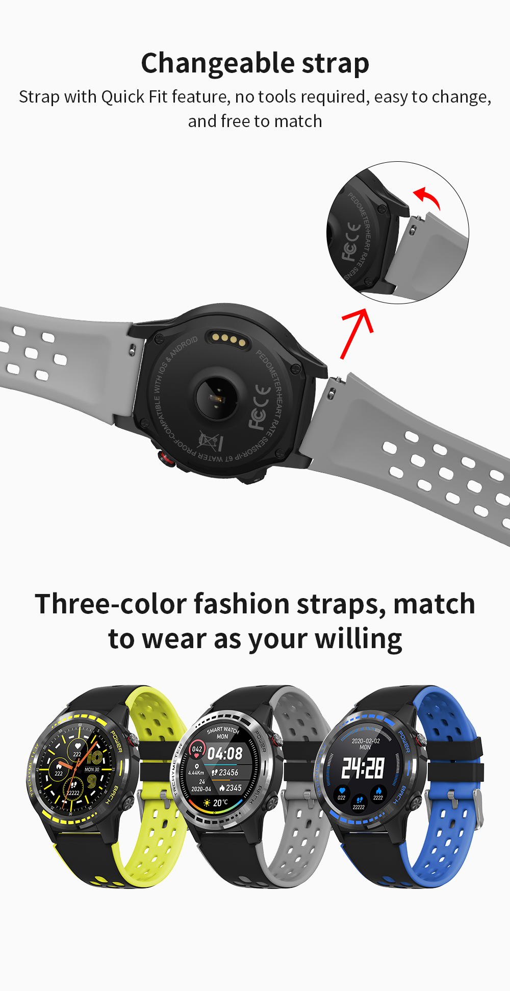 Smartsport watch Ip67 Waterproof Dynamic Heart Rate M7 Smartwatch Temperature Sports Smart Watch