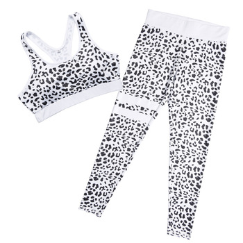 New Fashion Leopard Printed Tracksuit For Women Fitness Sporting Crop Top And Leggings Sportswear Workout Clothing Two Piece Set