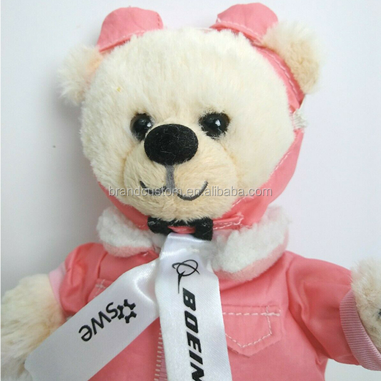 Custom pink Jacket Googles pilot captain aviator colorful animals plush toy teddy bear with glasses zipper