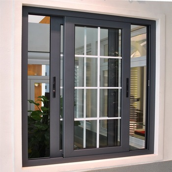 New Design Double Glazed Slide Aluminium Frame Sliding Frosted Glass Window With Screen