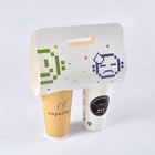Customized Disposable Coffee Paper Cup Carrier Holder With Handle