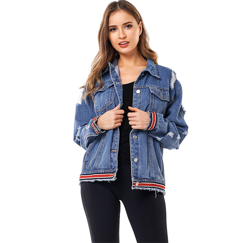 Womens denim Jackets Coats OEM Ladies Womens High Quality WASHED streetwear <strong>hole</strong> Ripped denim jackets
