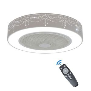 Led Remote Modern Crystal 220V And Lights Bladeless Kit Fancy Invisible Bulb Decor Outdoor 600mm Air Ceiling Fan With Light