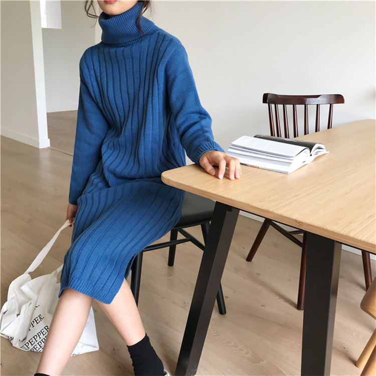 Winter wholesale casual  solid color oversized ribbed knitted dress pullover long Sleeve turtleneck sweater dress for women