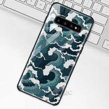 Волнистый арт японский зеленый Ил чехол для samsung Galaxy S10 S10e S9 S8 Plus A70 A50 A30 Note 9 10 + 5G закаленное стекло чехол для телефона(Китай)