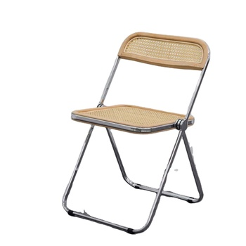 New Design Chromed Steel Frame Mid Century Modern Plia Folding Dining Chair With Natural Rattan Buy Wooden Folding Dining Chair Cheap Rattan Dining Chairs French Rattan Dining Chairs Product On Alibaba Com