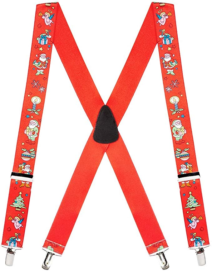 SuspenderStore Men's Santa Novelty Christmas Suspenders (3 Sizes, 3 Colors)
