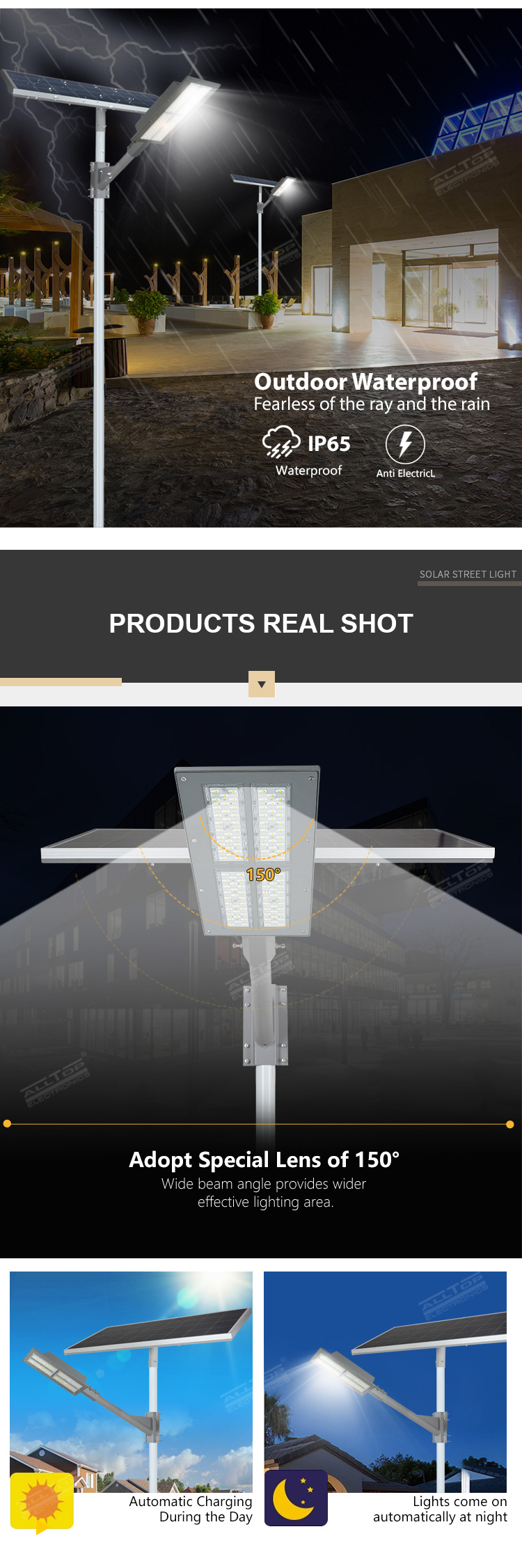 ALLTOP High lumen outdoor waterproof road lighting ip65 smd 180w solar led street light