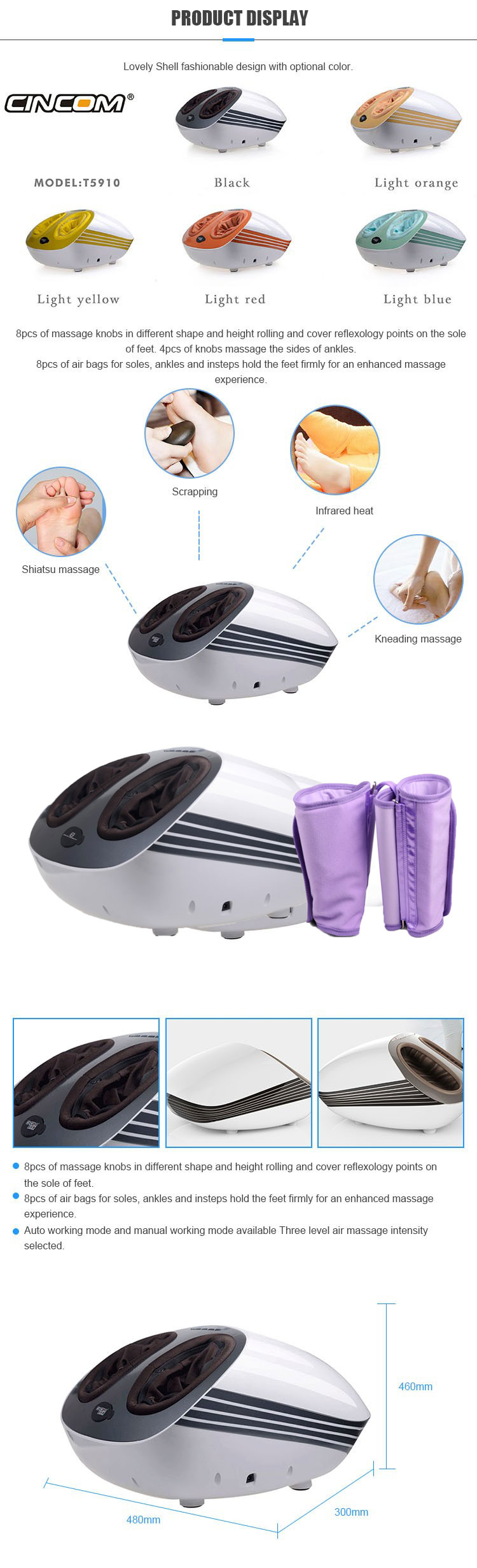 2019 New Products Electric Foot Massage Machine 3D Kneading Air Pressure Foot Leg Massager