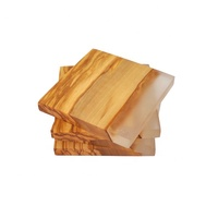 Olive Wood Square Coasters with Clear Resin Edge. Set of 4 - piece