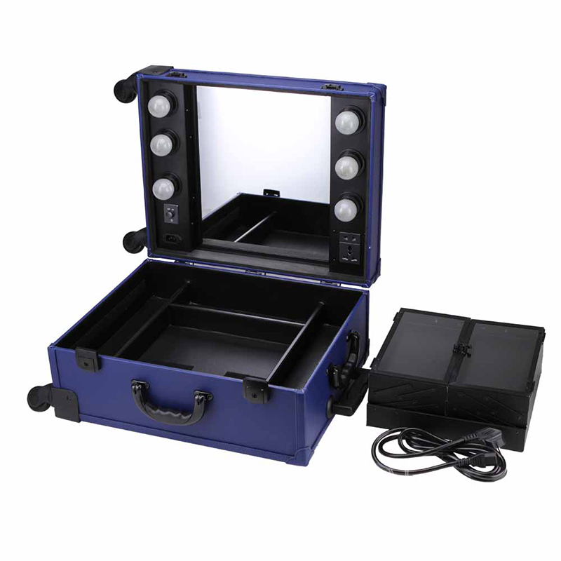 New design professional Aluminum makeup case with lights mirror