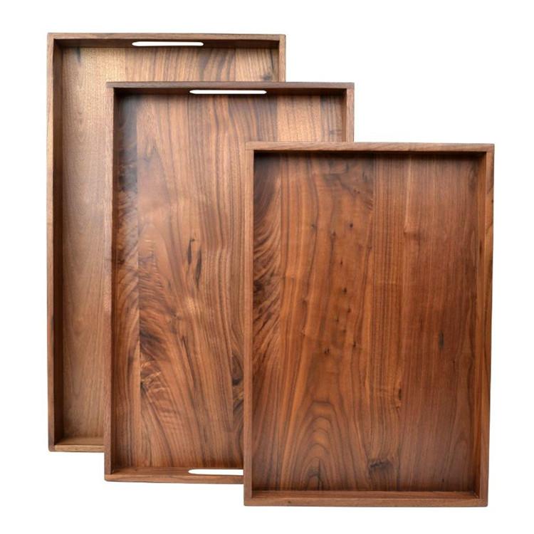 Set of 3 High-end hotel decorative ottoman black walnut wooden round tray